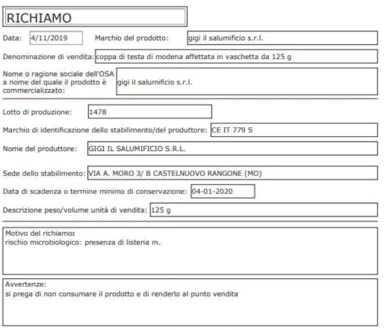Allarme in Italia: Salumi con listeria, 2 morti e decine di ricoverati. Marche e lotti